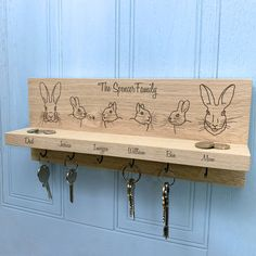 Personalised Rabbit Family Oak Key Holder by Urban Twist, the perfect gift for Explore more unique gifts in our curated marketplace. Wooden Key Holder, House Keys, Fine Sand, On The High Street, Family Gifts, Natural Materials, Solid Oak, Key Holders, How To Memorize Things