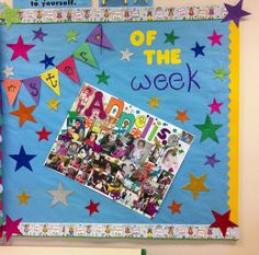 Love the star of the week idea, decorate the bulletin board for them and invite a special guest to come in and read for them. Star Bulletin Boards, Teacher Bulletin Boards, Preschool Bulletin Boards, Kindergarten Classroom, Teaching Displays, School Displays, Classroom Displays, Classroom Ideas, Pre K Activities