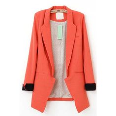 Orange Polka Dot Lining Contrast Rolled Cuffs Blazer (€31) ❤ liked on Polyvore featuring outerwear, jackets, blazers, blazer, orange, open front jacket, red blazer, red jacket, orange blazer and orange jacket