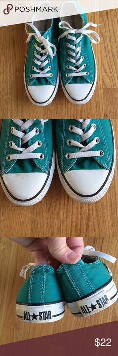 Converse All Star Green Size 8 Low Top Sneakers Converse All Star Green Men's 8 or Women's 10 Low Top Sneakers. These are in very good condition with some wear on treads. Converse Shoes Sneakers