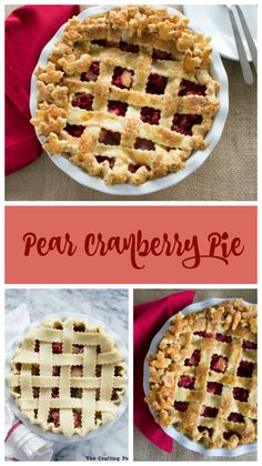 This Pear Cranberry Pie is the perfect balance of sweet, tender pears and tart, fresh cranberries encased in an all-butter, flaky, crisp crust. Plus, there's a touch of fresh ginger that gives this fruit pie a bright, fresh taste. It's the perfect non-traditional pie to celebrate Thanksgiving. By @craftyfoodie