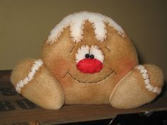 PRIMITIVE HC HOLIDAY CHRISTMAS GINGERBREAD DOLL DUDE SHELF SITTER ORNIE TUCK #Country