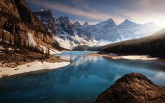 Download wallpapers Moraine Lake, mountain landscape, glacial lake, spring, forest, Banff, Canada, Lake Louise