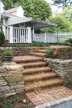 Stone walls with brick steps. Patio Steps, Brick Steps, Outdoor Steps, Outdoor Walls, Garden Stairs, Brick Garden, Brick Paving, Brick Walkway, Landscape Stairs