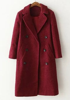 Elegant Women's Lapel Solid Color Double-Breasted Long Sleeve Worsted Coat