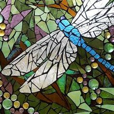 Mosaic Stained Glass - Blue Dragonfly Art Print by Catherine Van Der Woerd Mosaic Garden Art, Mosaic Wall Art, Mosaic Diy, Glass Wall Art, Mosaic Glass, Mosaic Ideas, Mosaic Birdbath, Mosaic Rocks, Blue Mosaic