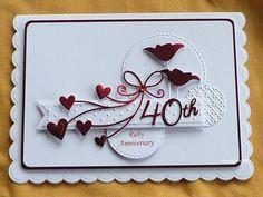 etwas, das fehlt: Ruby Anniversary - etwas, das fehlt: Ruby Anniversary Informationen zu somethinggonemissing: Ruby Anniversary Pin Sie k - Wedding Day Cards, Wedding Cards Handmade, Handmade Birthday Cards, Wedding Gifts, Anniversary Gifts For Parents, Cricut Anniversary Card, Handmade Anniversary Cards, Anniversary Surprise, Anniversary Ideas