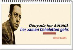 Dünyada her kötülük her zaman Cehaletten gelir. -Albert Camus