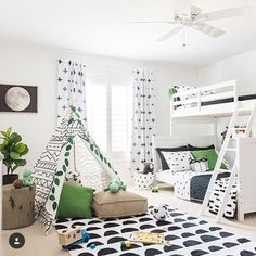 """50 Likes, 2 Comments - Project Junior (@projectjunior) on Instagram: """"What's black and white and green all over? This super cute (and really clean) toddler room re-do by…"""""""