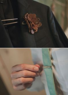 """leather flower boutonniere and """"forever"""" engraved tie clip"""