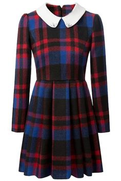 Classic Scottish Plaid Long-Sleeves A-Line Dress