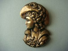 ButtonArtMuseum.com - Stamped Brass Vintage Style Button Victorian Woman with A Hat