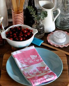 Tea Towel: Vintage Pyrex Pink Gooseberry by freshpastrystand