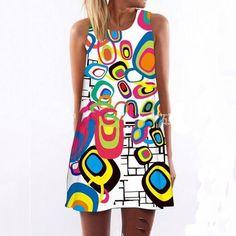 Digital Printing Multi-Element Sleeveless Loose Casual Mini Dress