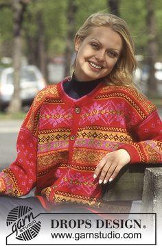 Cardigan in Karisma Superwash with borders. Short or long version. Fair Isle Knitting Patterns, Fair Isle Pattern, Knitting Charts, Baby Knitting Patterns, Free Knitting, Form Crochet, Knit Crochet, Drops Design, Norwegian Knitting