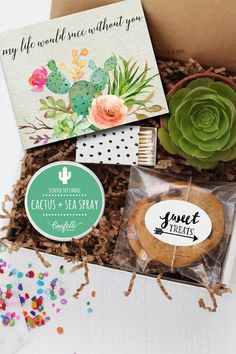 """My Life Would Succ Without"" You Gift Box - $34 - If you can't pick between giving something sweet or something green, give both — plus a box of adorable matches and a pun-tastic card. See more sweet gifts to say ""Thanks"" at HouseBeautiful.com."