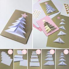 fun Christmas Crafts weihnachtskarten anleitung we - christmascrafts Christmas Card Crafts, Christmas Origami, Christmas Cards To Make, Christmas Activities, Kids Christmas, Handmade Christmas, Holiday Crafts, Origami Xmas Cards, Origami Xmas Tree