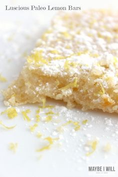 Luscious Paleo Lemon Bars!!! These are light and flavorful and melt in your mouth!! #paleo #lemonbars #healthy {www.maybeiwill.com}