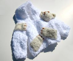OOAK Hooded Sweater. Bear Hoodie White Bulky Children Baby Kids Knitted Fashion 3D