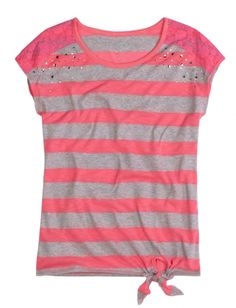 Lace Shoulder Striped Tee With Tie   Girls Pop Riot New Arrivals   Shop Justice