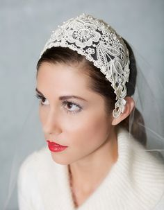 Ivory Vintage Chantilly Lace Juliet Cap Veil from Gilded Shadows