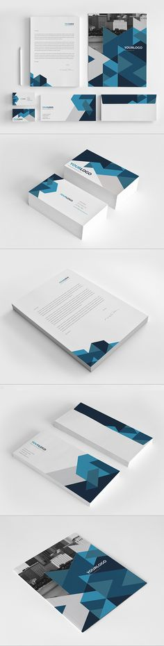 Blue Geometric Stationery. Download here: http://graphicriver.net/item/blue-geometric-stationery-pack/7396269?ref=abradesign #design #stationery
