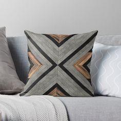 'Urban Tribal Pattern 2 - Concrete and Wood' Throw Pillow by Zoltan Ratko Minimalist Pillows, Tribal Decor, Tribal Rug, Bohemian Decor, Tribal Patterns, Quilted Pillow, Wood Texture, Designer Throw Pillows, Pillow Design