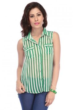 Life Ladies Georgette Candy Stripes Buttondown Shirt https://play.google.com/store/apps/details?id=com.womensdeals.womensdeals Product Description Fun candy stripes are a must-have look for the summer. Pair with cotton shorts for a fun picnic with friends. Product Details Georgette Fabric Shirt Collar Sleeveless Regular Fit Allover Stripes Pattern Full Front Buttondown Chest Pockets