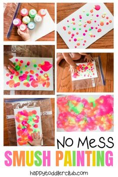 No mess smush painting for toddlers happy toddler club easy toddler art project idea! whether your toddler is 12 months 18 months or 2 years old this art project makes the perfect indoor activity it s Art Activities For Toddlers, Activities For 2 Year Olds, Infant Activities, Learning For Toddlers, Indoor Toddler Activities, Art For Toddlers, Day Care Activities, Sensory Play For Babies, Infant Games