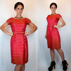 Vintage 50s Dynasty Silk Brocade Cranberry Red Pink Dress. Fitted Wiggle Mod Cocktail Sheath w/ Metallic Gold Paisley + Cap Sleeves. Small