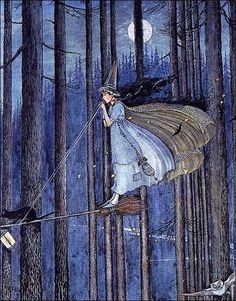 ~ Ida Rentoul Outhwaite The Witch on her broomstick, Illustration from 'The Enchanted Forest' written by the artist and her husband, Grenbry Outhwaite, 1921 Wiccan, Magick, Illustrations, Illustration Art, Art Magique, Witch Art, Witch Broom, Witch Flying On Broom, Witch Painting