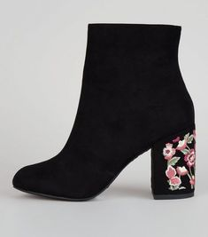 Black Suedette Floral Embroidered Heel Boots | New Look
