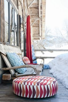 Get your winter vibes with UV Pro's Inside Out collection. Adding some colour to your winter with this chalet chic moodboard. Outdoor Cushions, Floor Cushions, Outdoor Fabric, Indoor Outdoor, Outdoor Decor, Beach House Furniture, Outside Furniture, Beautiful Interior Design, Patio Design