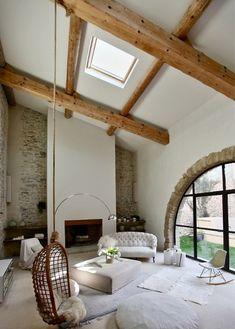 wood beams and sofa