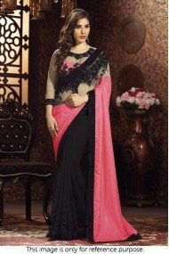 Bollywood Style Sophie Choudry Jacquard and Net Saree In Black and Pink Colour NC2128