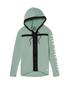 Victoria's Secret PINK High/Low Full-Zip Hoodie, Seasalt Green, Large at Amazon Women's Clothing store: