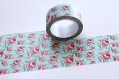 Washi Masking Tape BLUMEN ROSEN BREIT mint rot von washitapes auf DaWanda.com