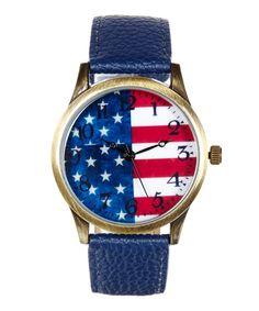 This Geneva Platinum Red & Blue Flag Strap Watch by Geneva Platinum is perfect! #zulilyfinds
