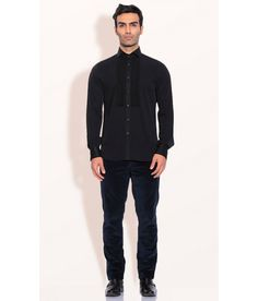 Ashish N Soni Black Polyester Poly Crepe Pintuck Front Shirt, http://www.snapdeal.com/product/designer-wear-black-polyester-poly/1543346789