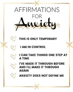 Affirmations that help with anxiety
