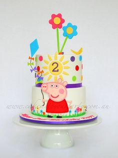 Two-tiered Peppa Pig Cake idea for Abby's birthday cake Tortas Peppa Pig, Fiestas Peppa Pig, Peppa Pig Y George, George Pig, Cake Pops, Pig Birthday Cakes, Peppa Pig Birthday Ideas, 3rd Birthday, Pig Party