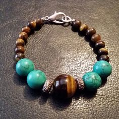Turquoise and Tigers Eye by GreenePumpkins on Etsy