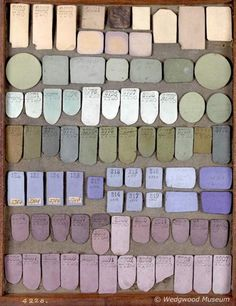 Tray of jasper trials, ca. 1773-76, from Josiah Wedgwood's manufacture.
