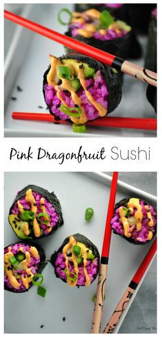 Vegan Pink Dragonfruit Avocado Rolls with cucumber and asparagus topped with spicy mayo!