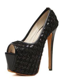 High Heels Glamour Black Stiletto Heel Sequined Cloth Womens Peep Toe Shoes 1dd0e0891b9e