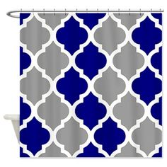 Gray and navy blue quatrefoil pattern Shower Curta on CafePress.com