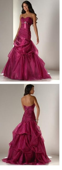 Dramatic Organza Mermaid Sweetheart Strapless Floor-length Prom Dresses FL9