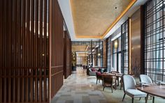 View the full picture gallery of Hyatt Regency Beijing Shiyuan Endangered Plants, Mountain Silhouette, Lobby Interior, Interior Design, Natural Stone Flooring, Private Dining Room, Big Windows, Roof Design, Green Life