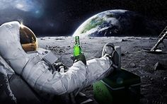 poster for home room bar club astronauts moon 21x13 inch gift man beer CHRISTMAS