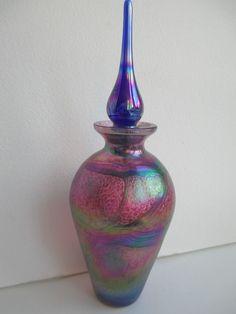 art glass perfume bottle iridescent cranberry blue gold ribbon tallstopper